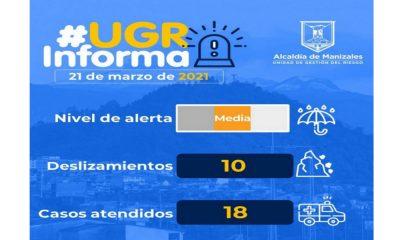 La Alcaldía de Manizales reportó varios deslizamientos de tierra ocasionados por las fuertes lluvias de las últimas horas