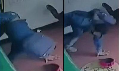 Hombre se metió a robar a local y se enredó en la reja