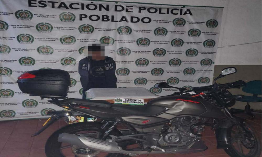¡No le duró el paseíto! Se robó una moto en La Estrella y lo capturaron en el Poblado