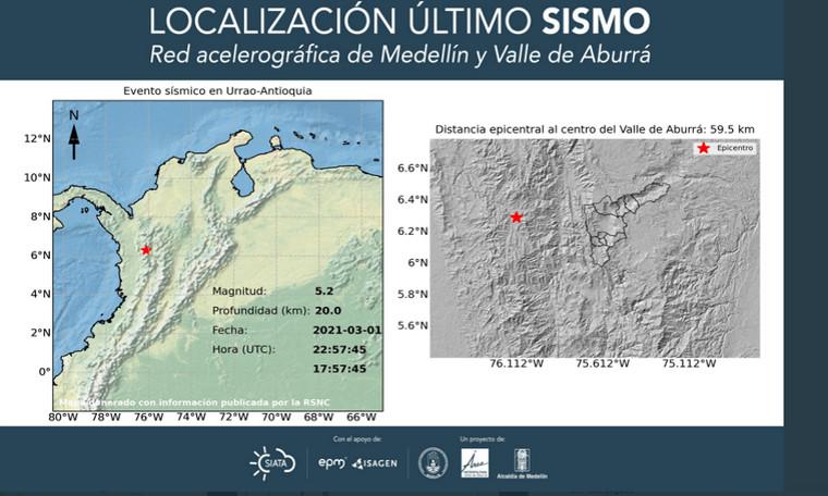 Autoridades indican que hasta el momento no se han reportado daños por fuerte sismo en Medellín