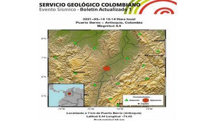 ¿Lo sintió? Tembló, el epicentro fue en Puerto Berrío, Antioquia