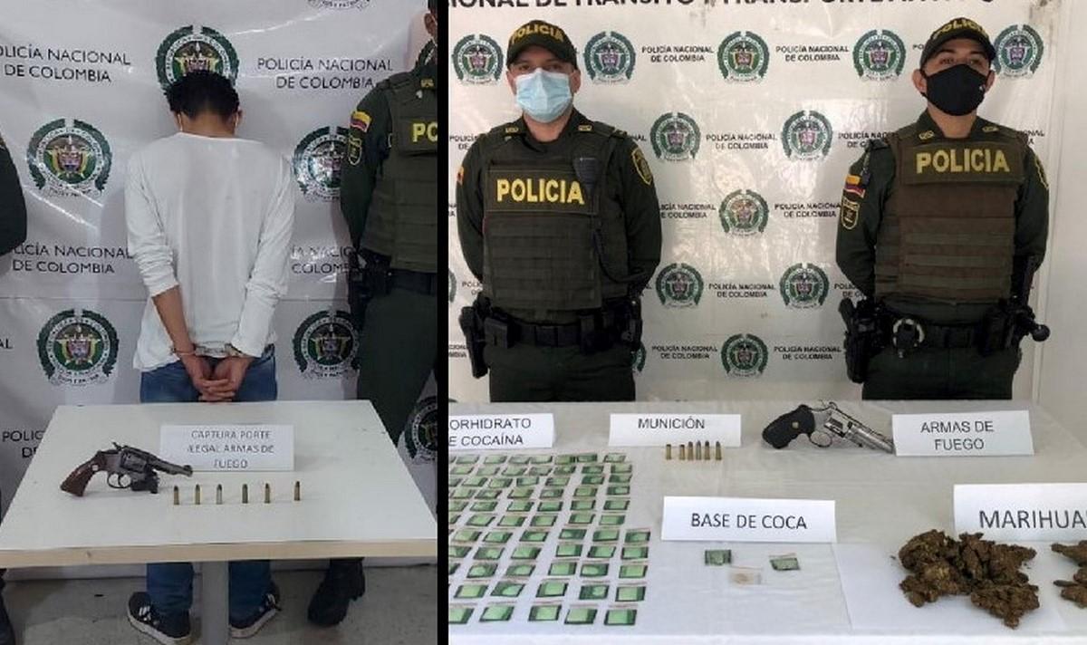 Capturaron a uno en Cocorná con arma de fuego y en La Pintada incautaron droga y una pistola