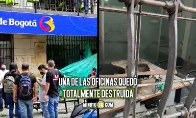 [Video] ¡Se pasaron! Sede del Banco de Bogotá en Medellín fue atacada
