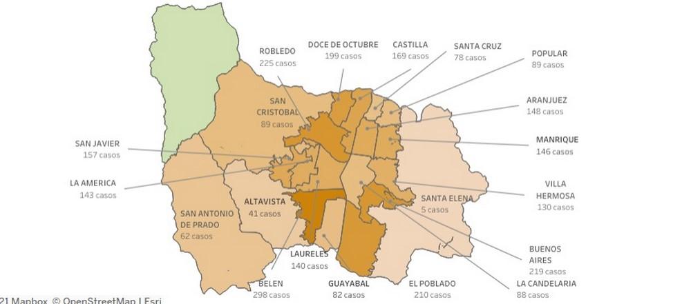 casos covid mapa medellin