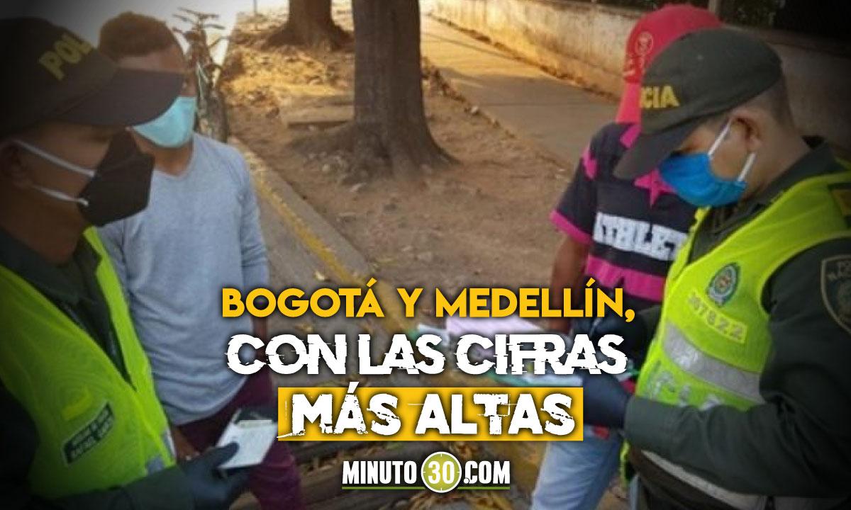 Más de 2 millones 500 mil comparendos en Colombia durante la pandemia