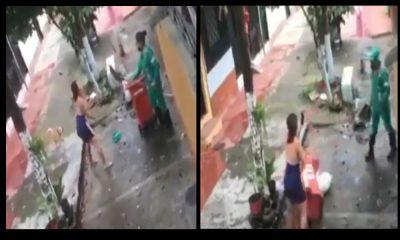 Video: Mujer insultó y hasta le lanzó un machetazo a una 'escobita' y luego se quiso hacer la víctima
