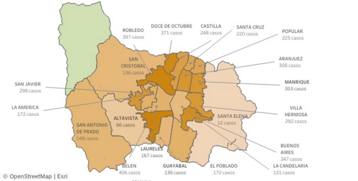 medellin covid casos comunas mapa
