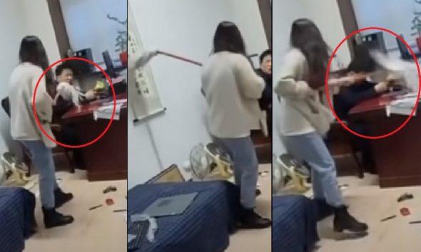 Mujer le dio traperazos a su jefe