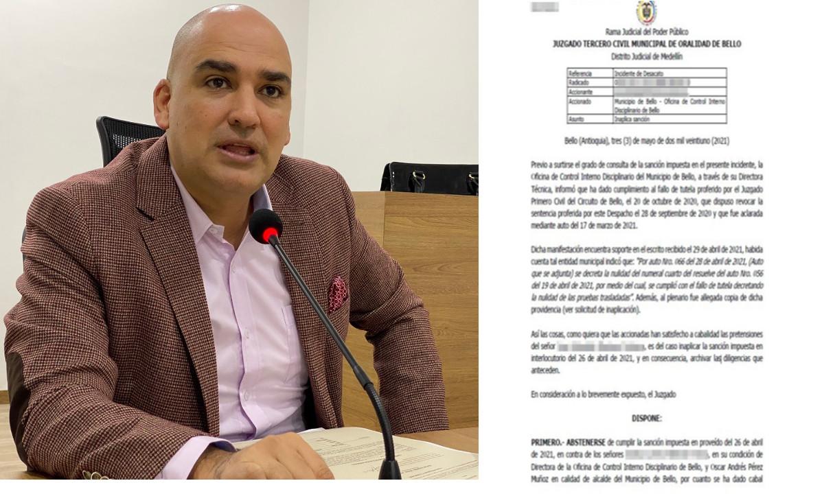 Alcalde de Bello y funcionaria no cumpliran sancion de detencion