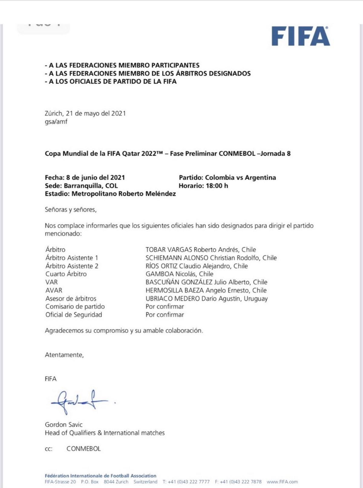 Arbitros partidos Colombia 2