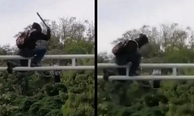 ¡Le dio con ganas! Ciudadano vandalizó una cámara LPR por el Estadio