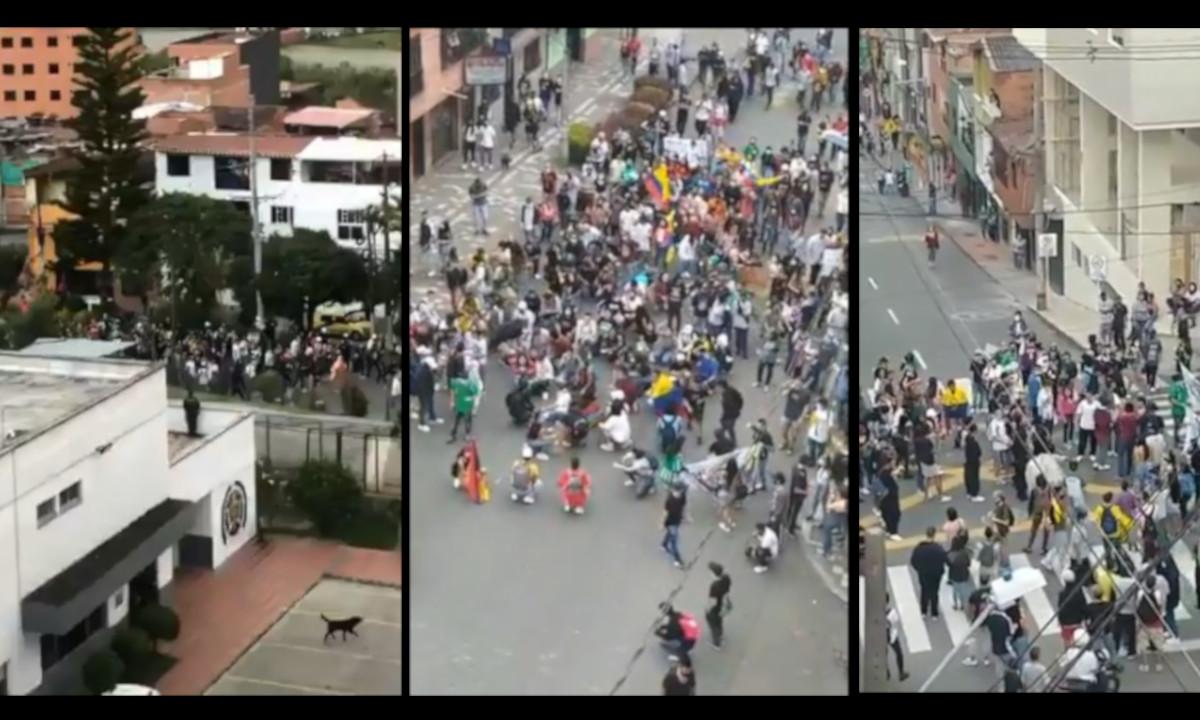 Hay manifestación en Caldas, Antioquia