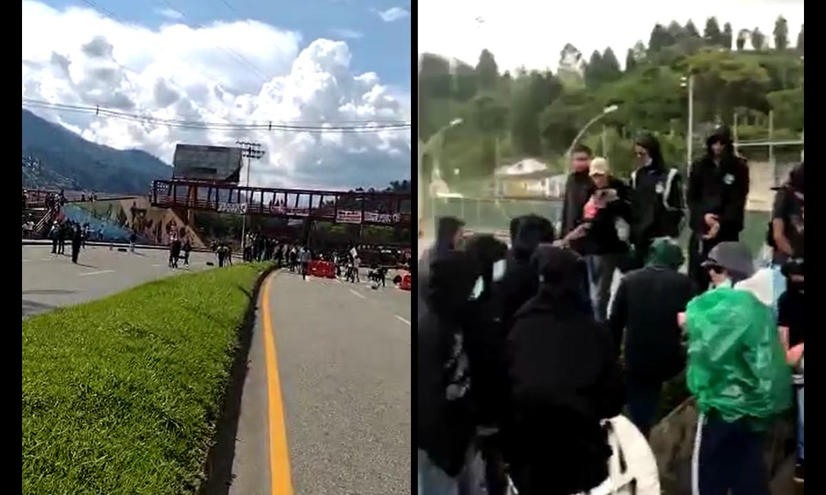 [Videos] Manifestantes bloquean la variante a Caldas, Antioquia