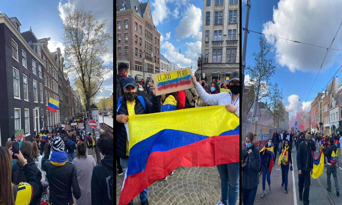 Colombianos en Amsterdam se unen a la manifestacion nacional