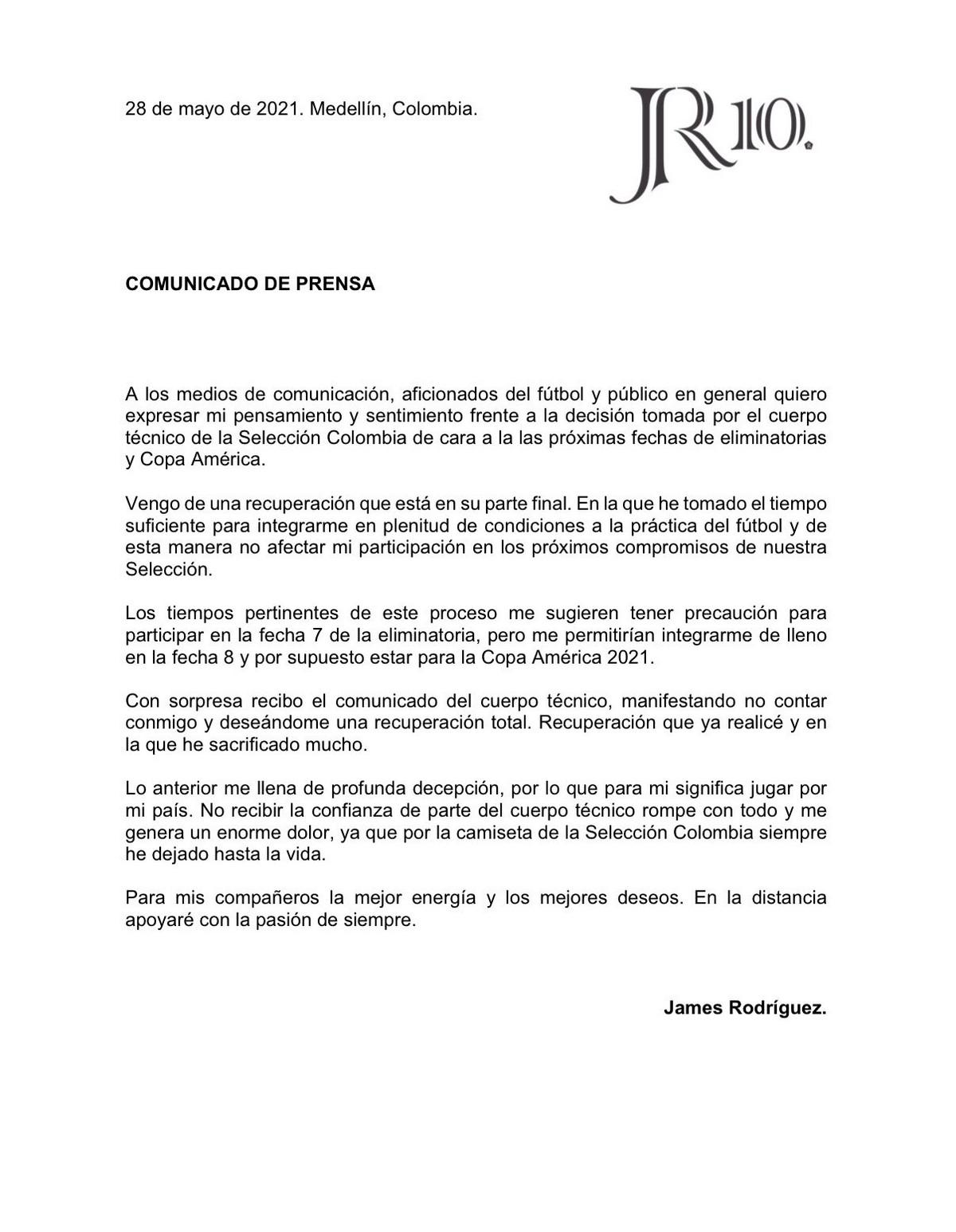Comunicado completo James Rodriguez