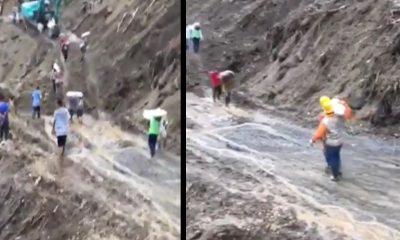 [Video] A hombro hacen transbordo de oxigeno medicinal tras el derrumbe en la via hacia Urabá