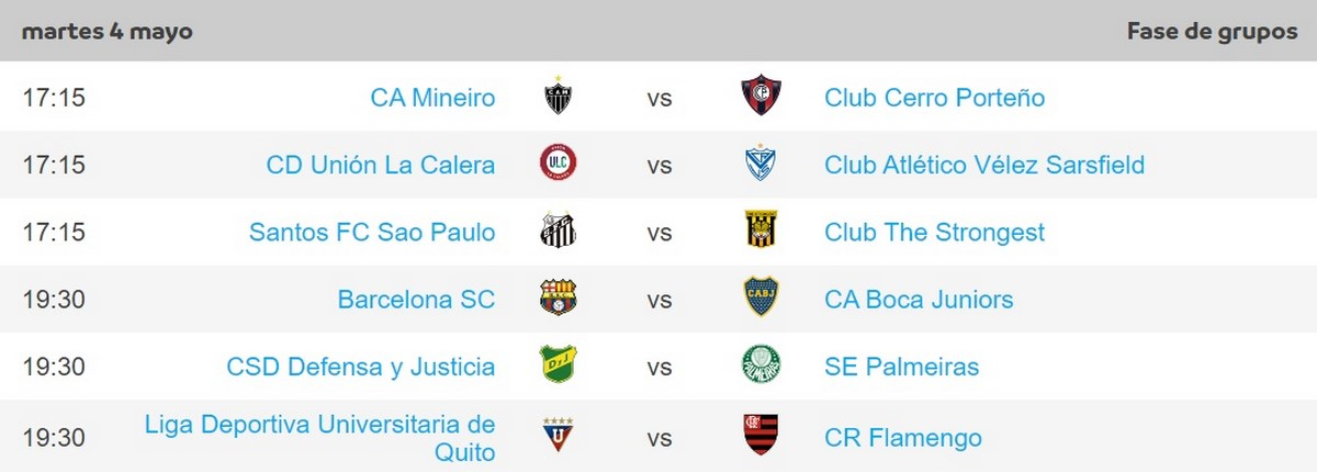 Programacion Copa Libertadores mayo 4 1