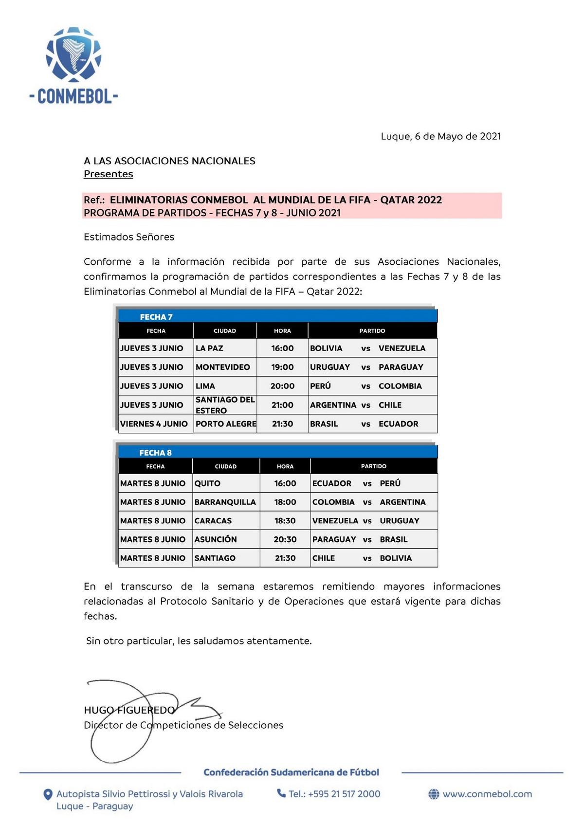 Programacion Eliminatorias e las fechas 7 y 8