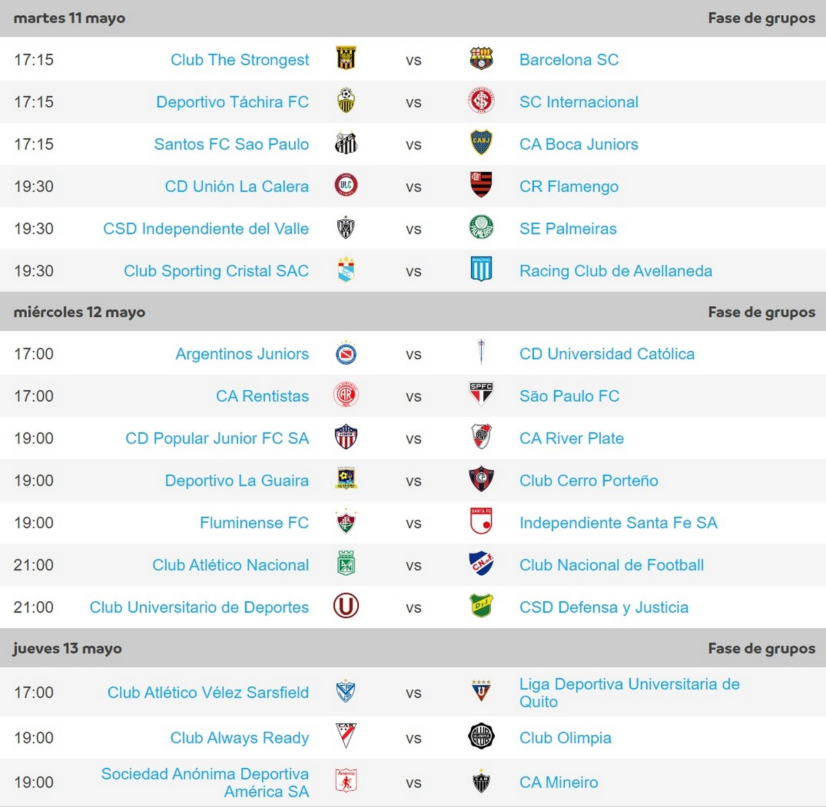 Programacion fecha 4 Copa Libertadores 1