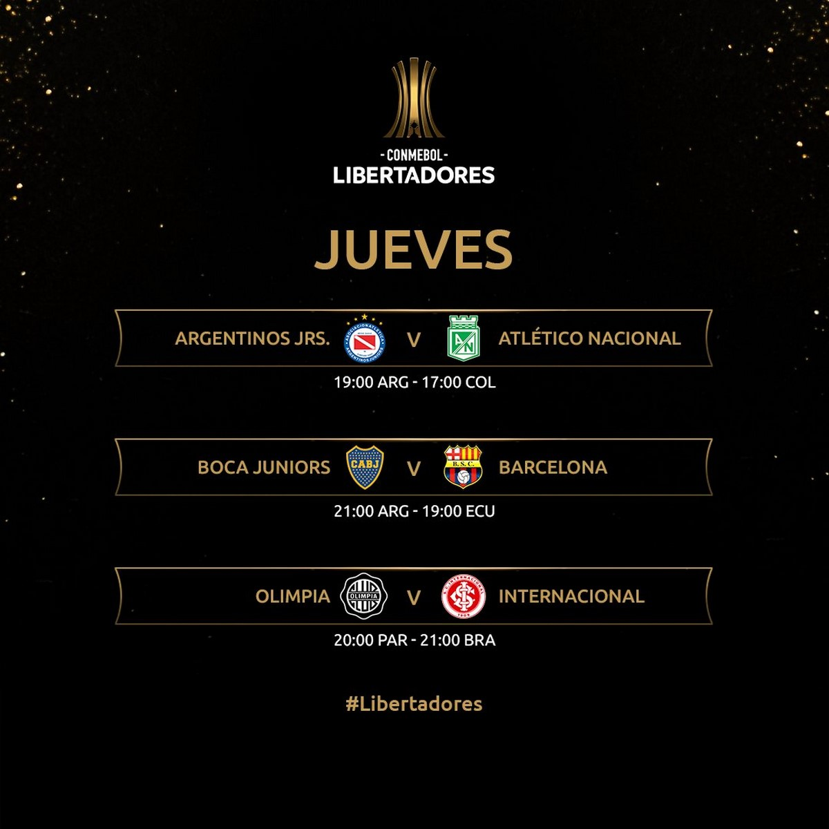 Programacion jueves fecha 5 Copa Libertadores 1