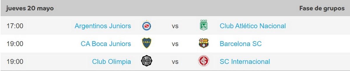 Programacion jueves fecha 5 Copa Libertadores 3
