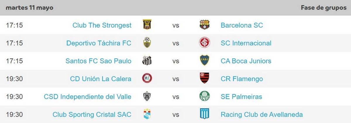 Programacion martes 11 fecha 4 Copa Libertadores