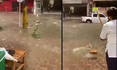 """[Video] """"Nos volvimos a inundar"""", comerciante en Sabaneta"""
