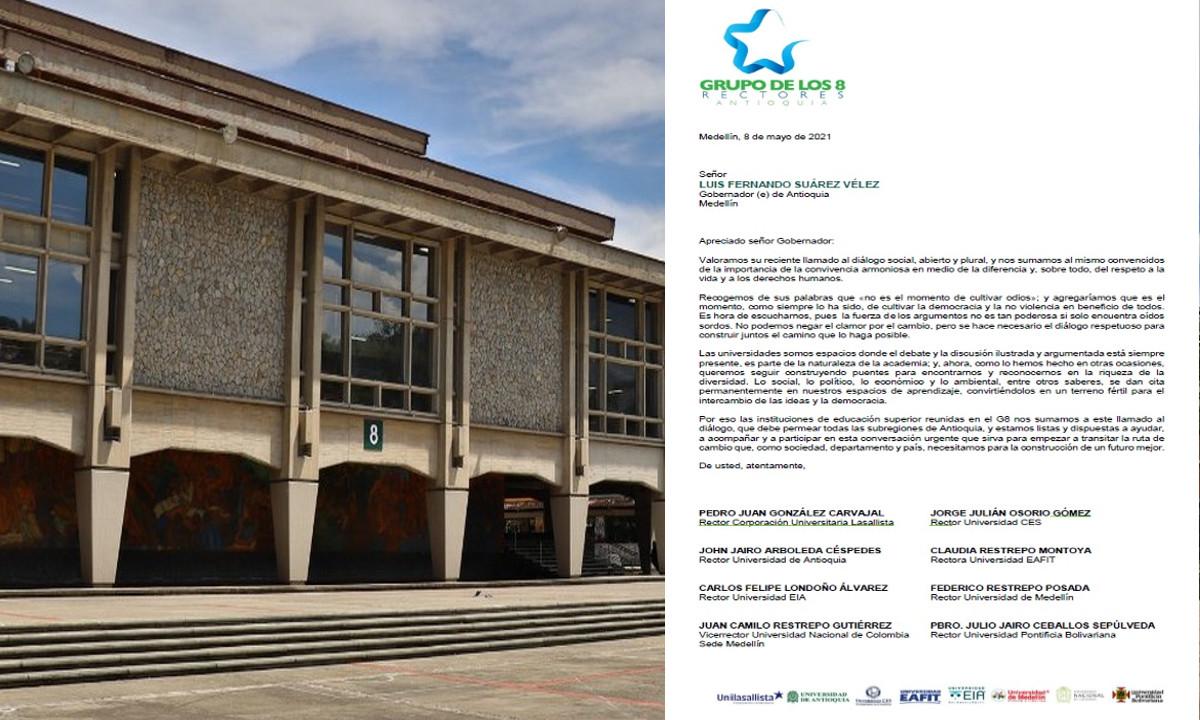 Rectores de ocho universidades de Antioquia se suman al llamado de diálogo