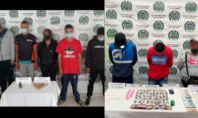En La Unión, Amagá y Angelópolis capturaron a 8 con una granada y estupefacientes