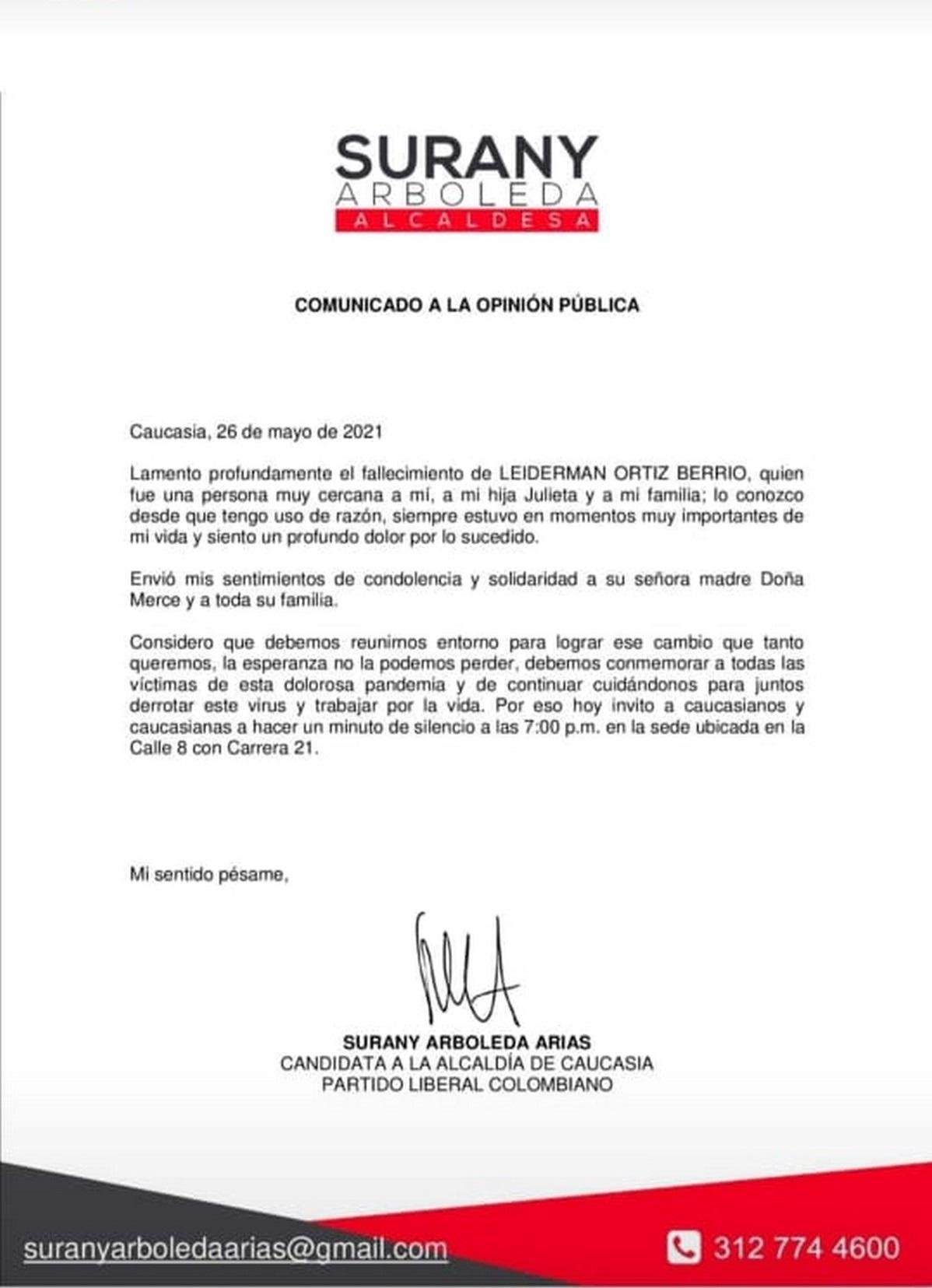 comunicado Surany Arias