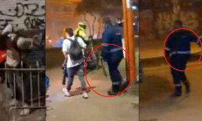 Padre cogió a correazos a su hijo durante protestas en Bogotá