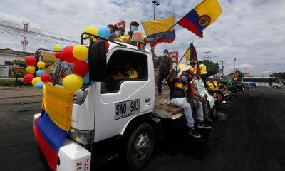 Integrantes del gremio de transportadores protesta en Cali (Colombia). EFE/ Ernesto Guzmán Jr/Archivo