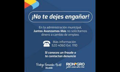 ¡Pilas, no coma cuento! Están pidiendo dinero a cambio de supuestos empleos en la Alcaldía de Rionegro