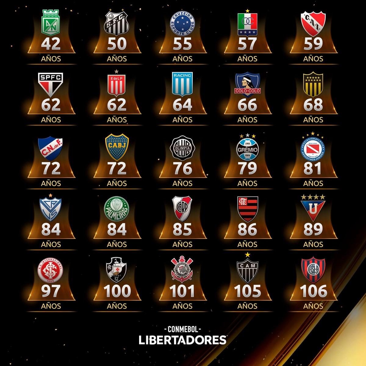 Anos de los campeones de Copa Libertadores