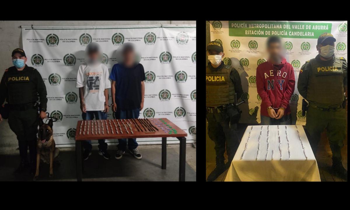 Cogieron en Medellín a estos tres con droga