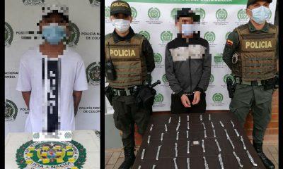 En Medellín pillaron a estos dos 'pelaos' con droga para vender