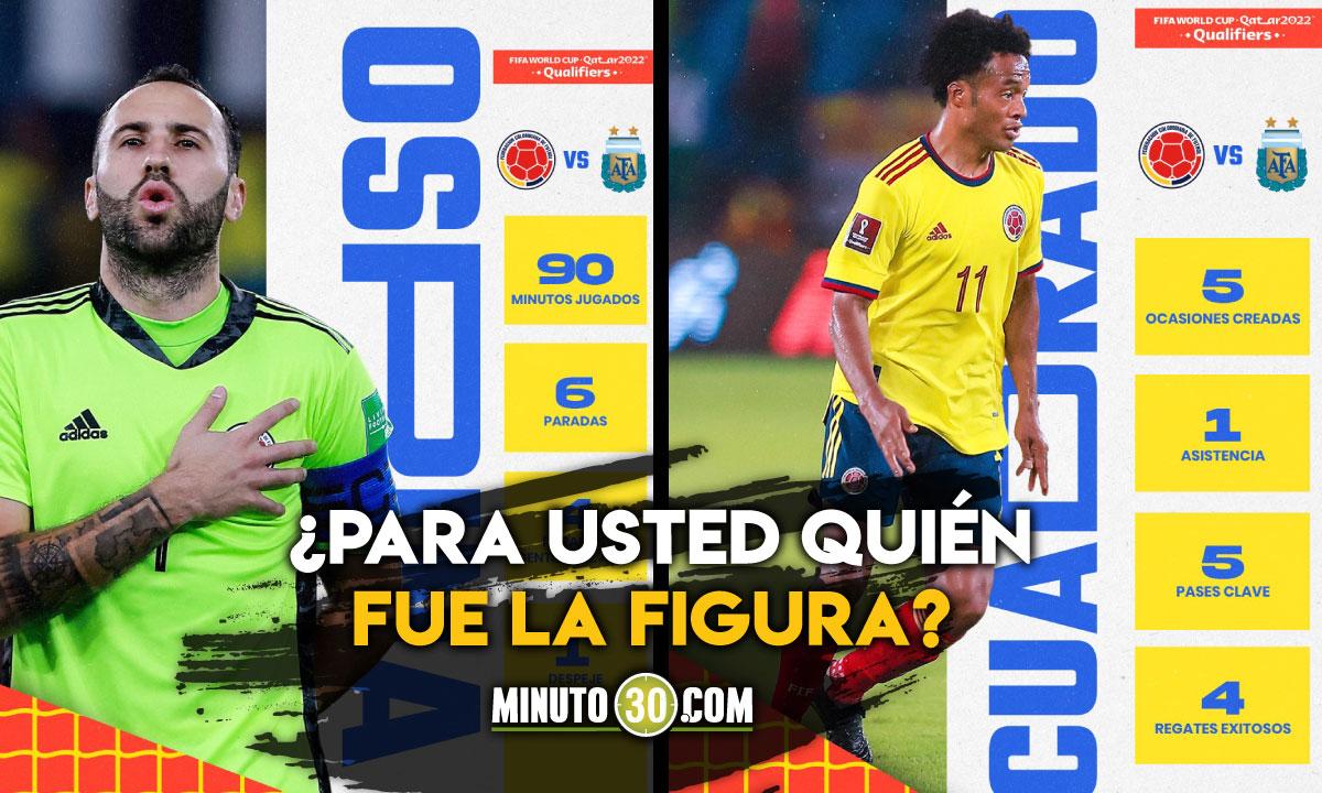Mano entre Cuadrado y Ospina por el rotulo de la figura del partido Colombia Argentina