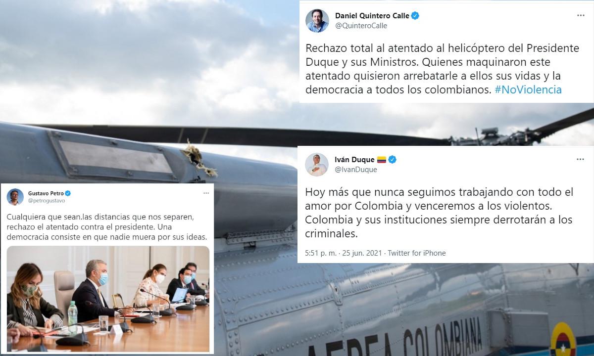 Rechazan el ataque al helicóptero en el que viajaba el presidente Iván Duque
