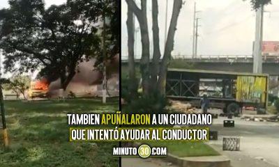 [Video] Saquearon un camión de cerveza en Cali y luego lo quemaron