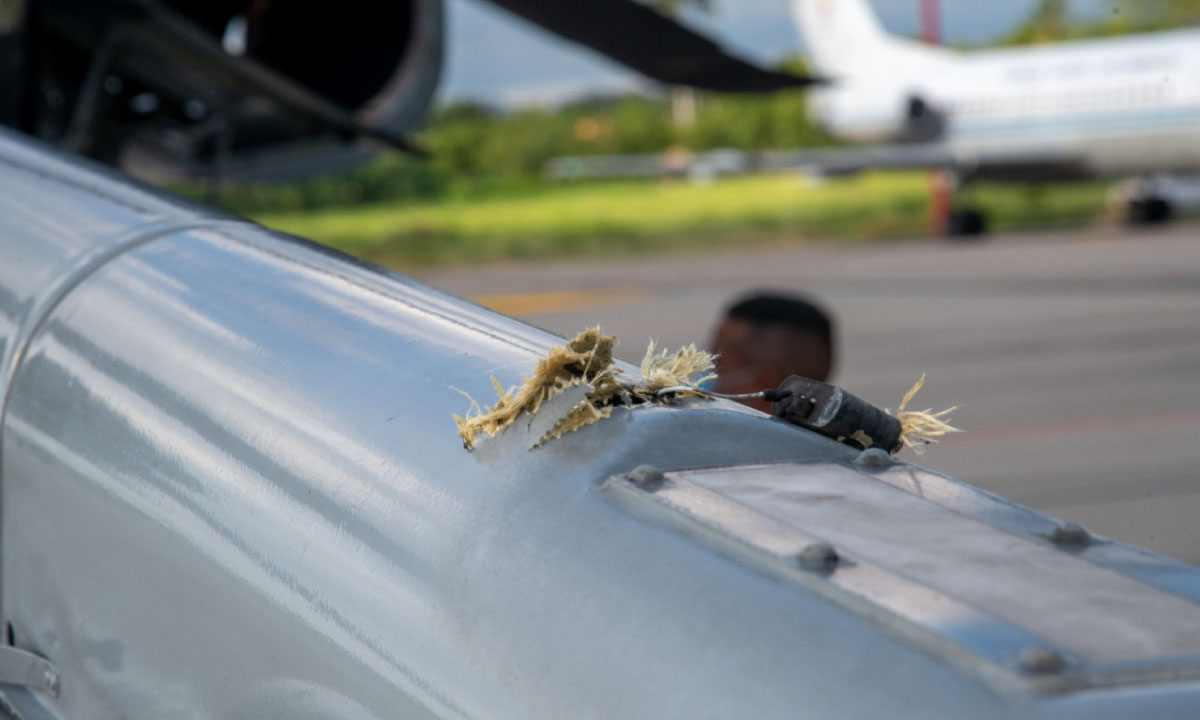 Se ven los disparos Asi quedo el helicoptero presidencial tras ataque a Duque 2