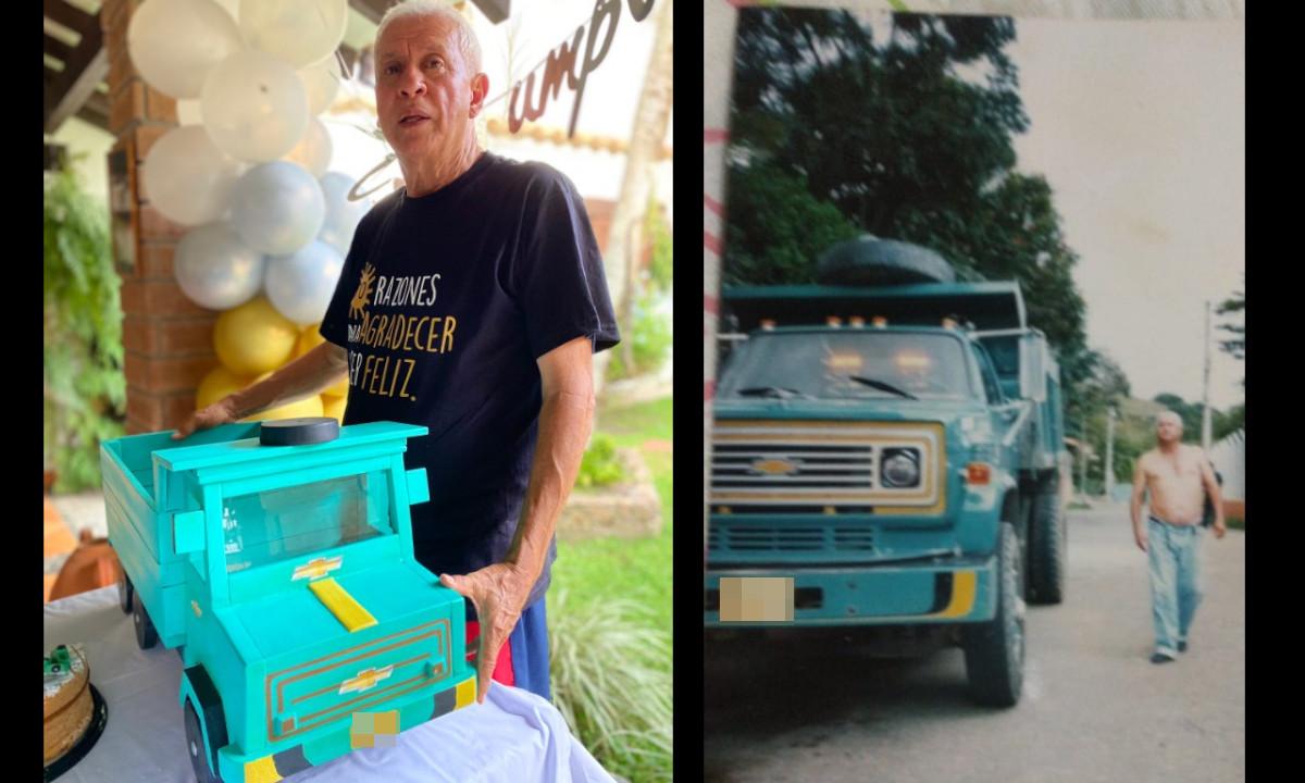 Cumplió 70 años y su hija lo homenajeó con una maqueta de la volqueta con que la sacó adelante