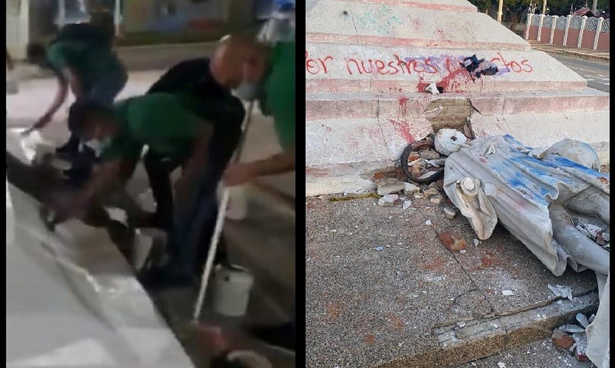 7 personas en la UCJ por vandalizar estatua en Barranquilla