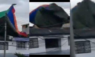 Ventarrón elevó un inflable con cinco niños en Bogotá