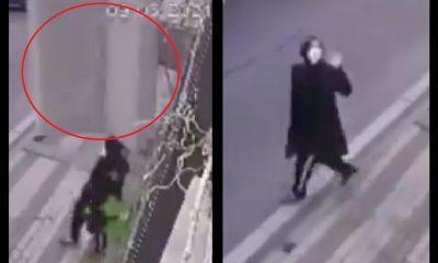 Sofá casi aplasta a una mujer en Turquía