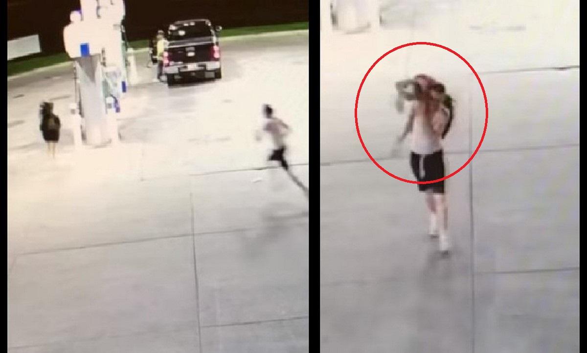 Momento exacto del secuestro de una mujer en una bomba