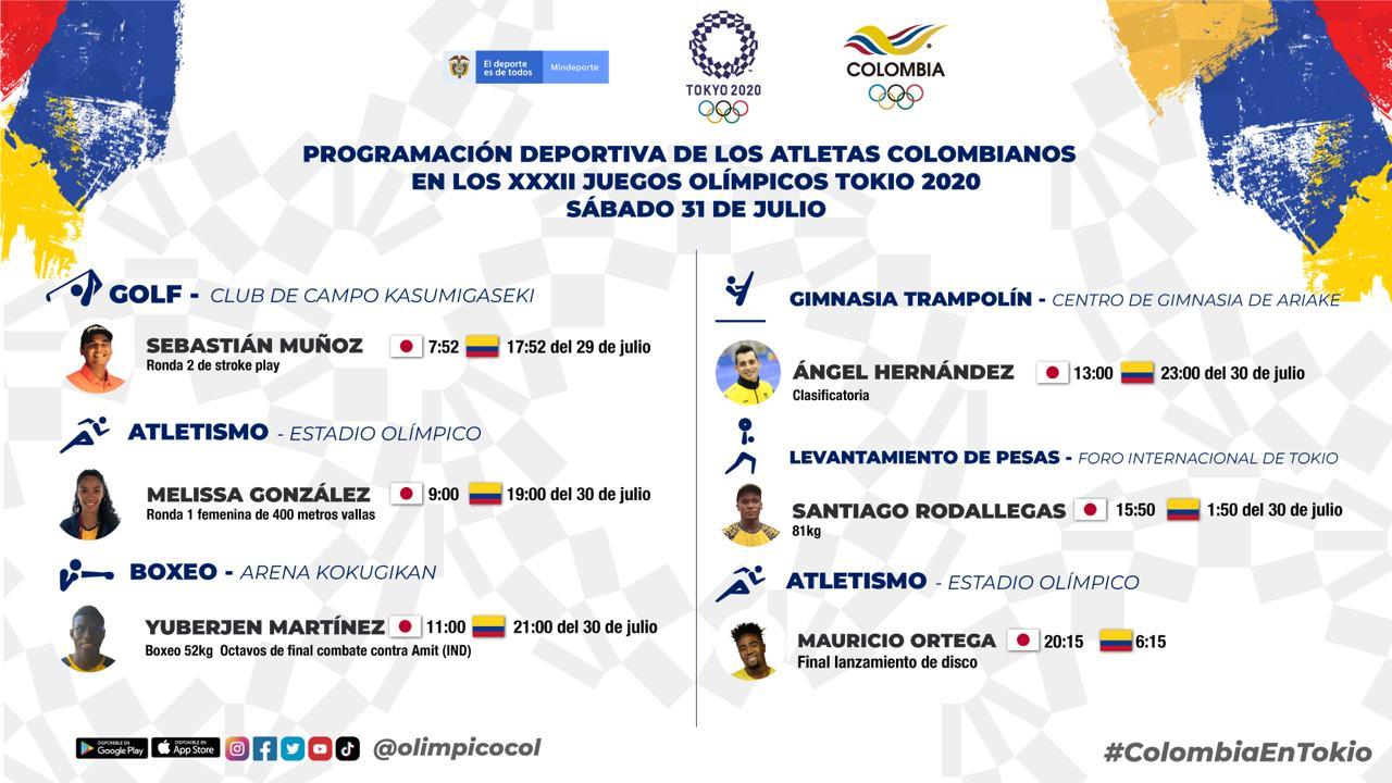 Agenda de los deportistas colombianos para la novena jornada