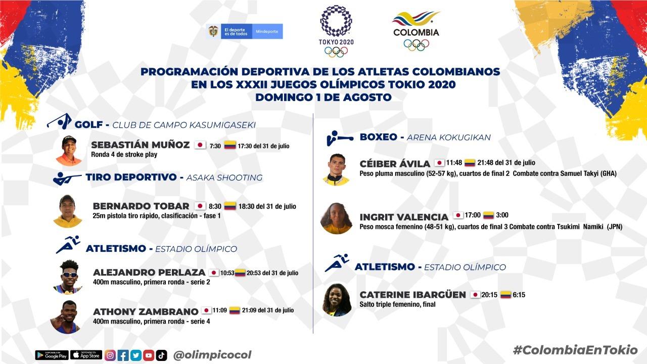 Agenda deportistas colombianos para la noche del sabado y las primeras horas del domingo