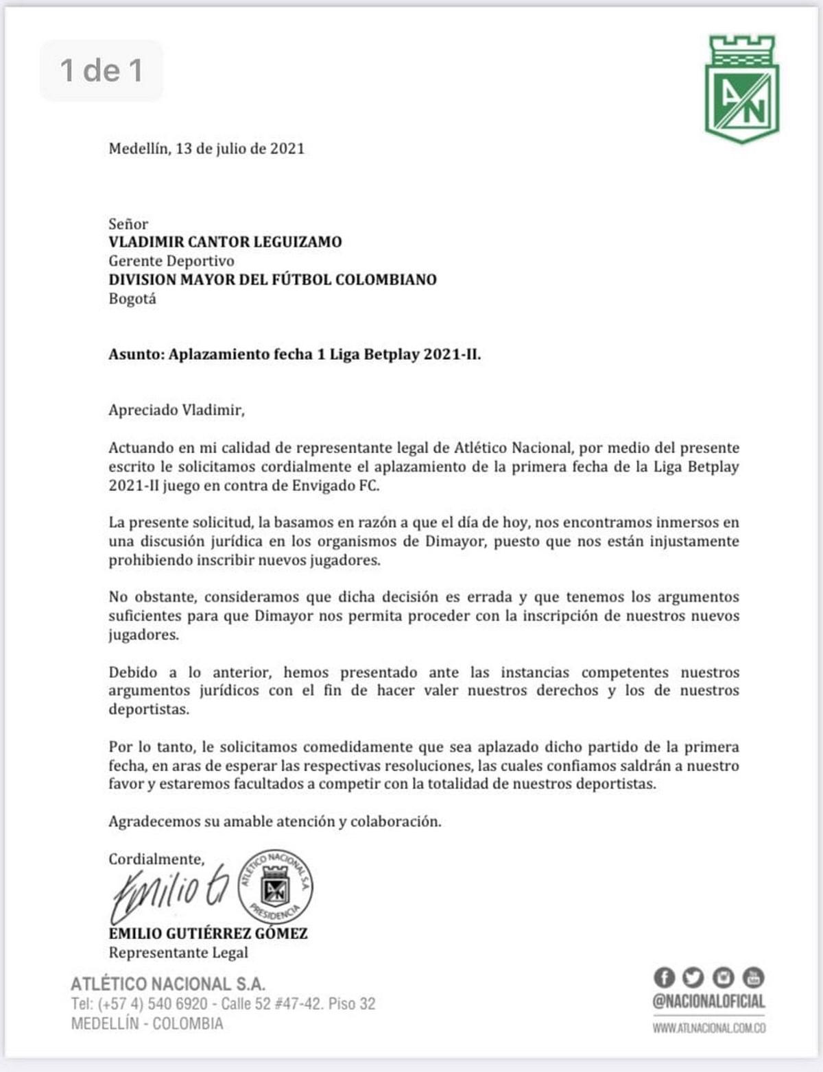 Atletico Nacional pidio aplazar su primer partido en la Liga BetPlay II 2021