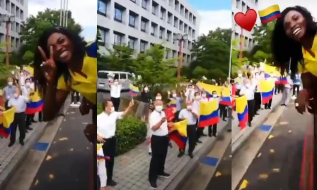 ¡Qué belleza! Japoneses se despiden de Caterine Ibargüen con banderas colombianas
