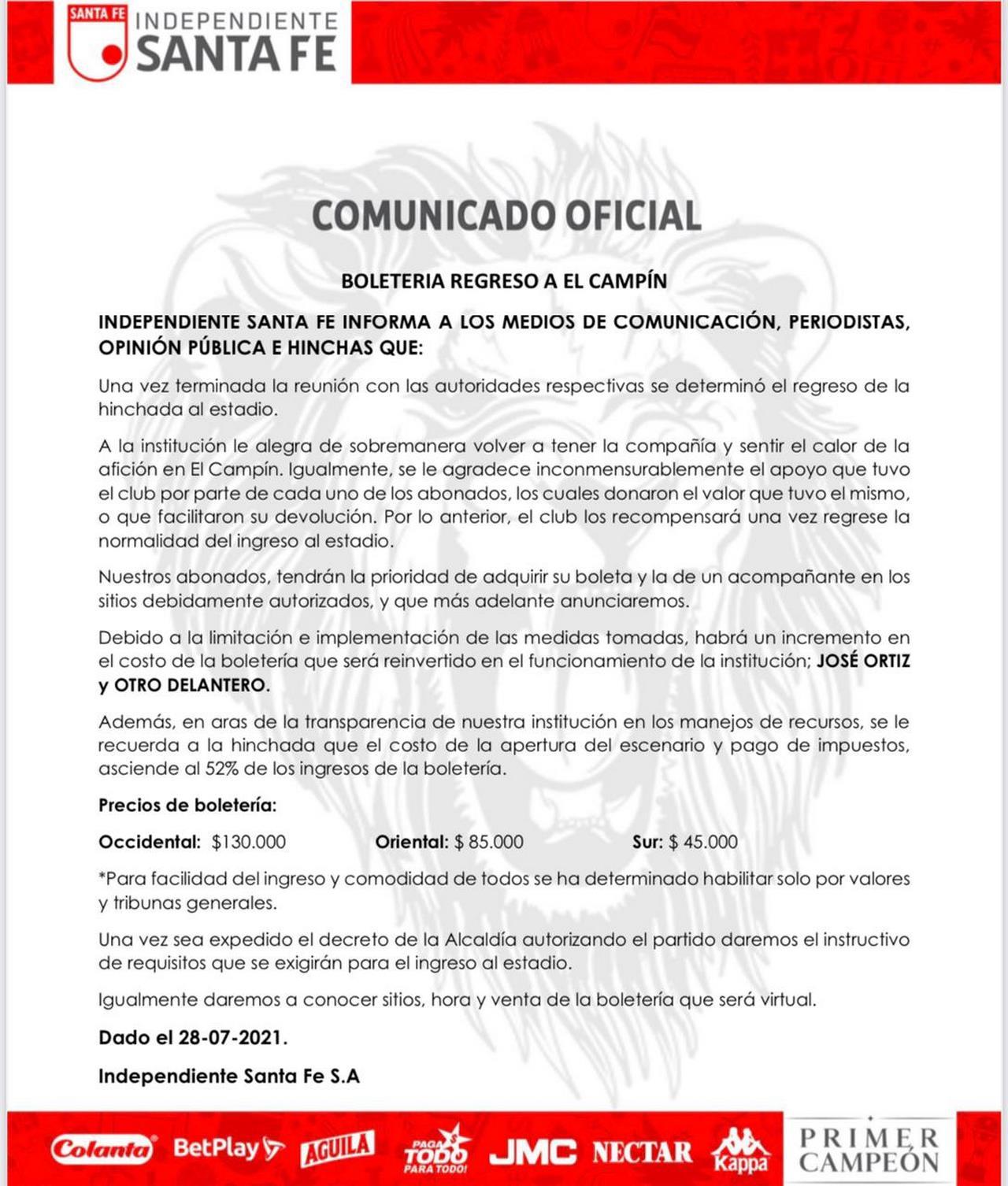 Comunicado de Independiente Santa Fe sobre boleteria